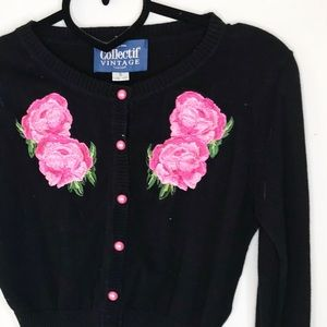Collectif vintage inspired cropped cardigan